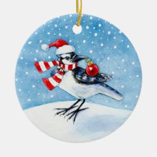 アオカケスのクリスマスまたは冬のオーナメント セラミックオーナメント
