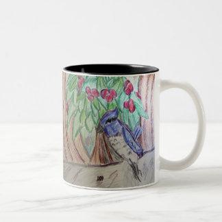 アオカケスのクリスマス ツートーンマグカップ