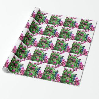アオカケスのタイルを張られた包装紙 ラッピングペーパー