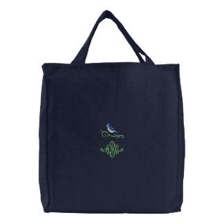 アオカケスのモノグラムによって刺繍されるトート 刺繍入りトートバッグ