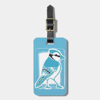 アオカケスの青および白い荷物のラベル ラゲッジタグ