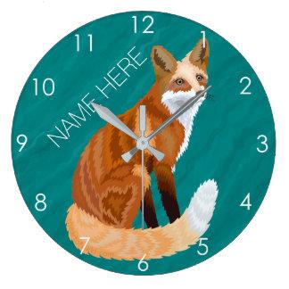 アカギツネのレトロのスタイルの森林動物のテーマのティール(緑がかった色) ラージ壁時計
