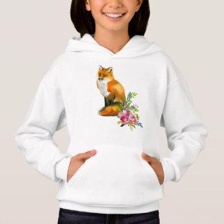 アカギツネ及び花柄の女の子のフード付き上のTシャツ