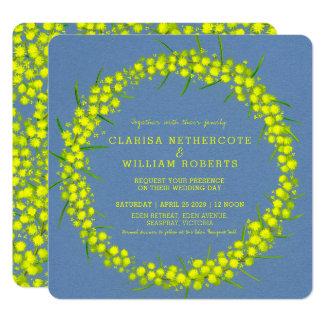 アカシアの黄色い編み枝細工の花の芸術の結婚式の招待 カード