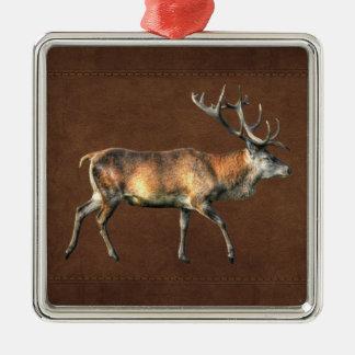 アカシカの雄鹿の野性生物の動物のデザイン メタルオーナメント