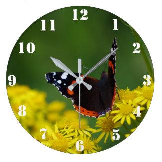 アカタテハチョウ蝶の時計 ラージ壁時計