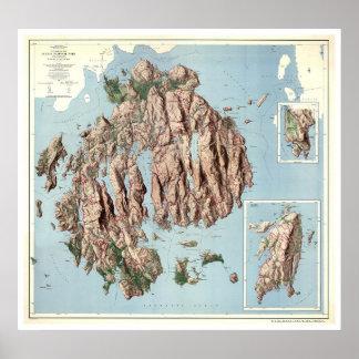 アカディア国立公園の地図1960年 ポスター