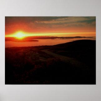 アカディア国立公園、キャデラック山の日の出 ポスター