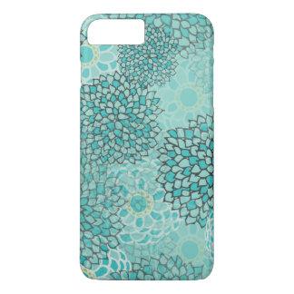アクアマリンおよびミントの花の破烈 iPhone 8 PLUS/7 PLUSケース