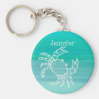 アクアマリンによって着色される海の名前入りなカニ キーホルダー