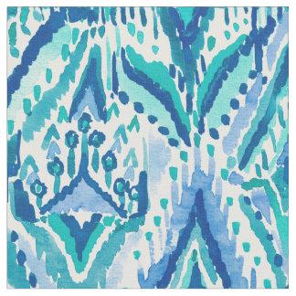 アクアマリンのイカットのフリンジの種族の水彩画 ファブリック