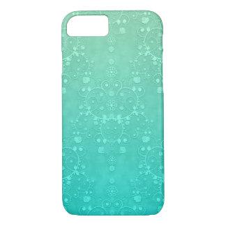アクアマリンのターコイズのハッカの香りがする緑の空想のダマスク織 iPhone 8/7ケース