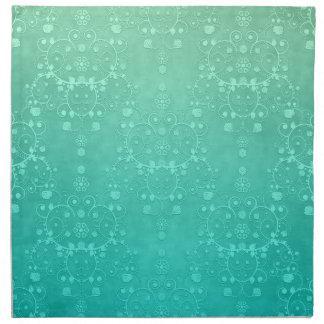 アクアマリンのティール(緑がかった色)のミントの緑の空想のダマスク織パターン ナプキンクロス