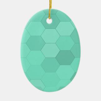 アクアマリンの六角形 セラミックオーナメント