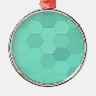 アクアマリンの六角形 メタルオーナメント
