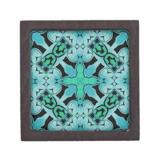 アクアマリンの緑の抽象芸術の情報通のシックなパターン ギフトボックス