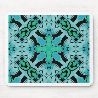 アクアマリンの緑の抽象芸術の情報通のシックなパターン マウスパッド
