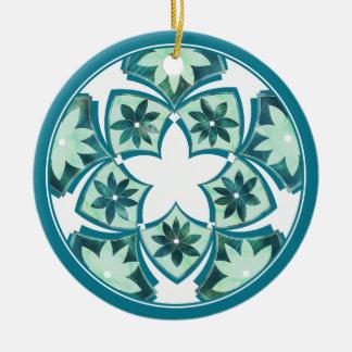 アクアマリンの装飾的な花のタイルのオーナメント セラミックオーナメント