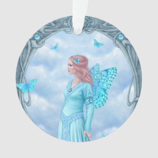 アクアマリンのBirthstoneの妖精の円形のオーナメント オーナメント