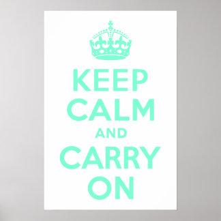 アクアマリンのKeep Calm and Carry On ポスター