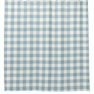 アクアマリン青のギンガムのシャワー・カーテン シャワーカーテン