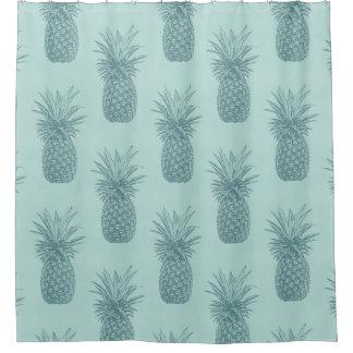 アクアマリン青のティール(緑がかった色)の熱帯パイナップルパターン シャワーカーテン