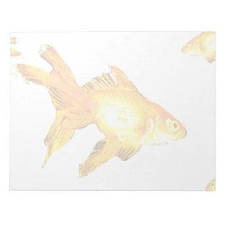 アクアリウムのファンシーな金魚の水泳 ノートパッド