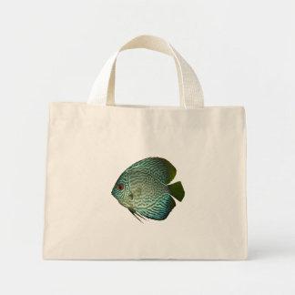 アクアリウムのTシャツの青い円盤投げの熱帯魚 ミニトートバッグ