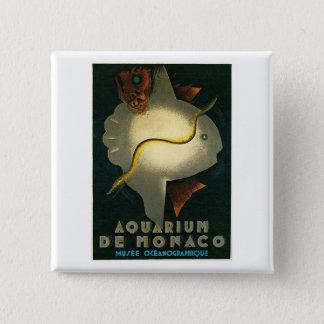 アクアリウムDeモナコMusee Oceanographiqueの芸術 5.1cm 正方形バッジ