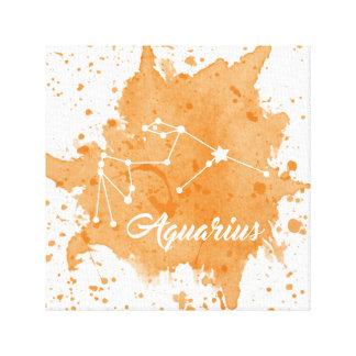 アクエリアスのオレンジ壁の芸術 キャンバスプリント