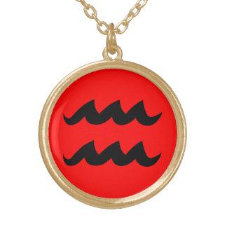 アクエリアスのネックレスの黒赤いwの金ゴールドの終わり ゴールドプレートネックレス