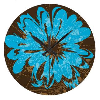 アクエリアスのヴィンテージのサイケデリックな花柄 ラージ壁時計