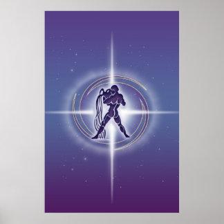 アクエリアスの占星術のラベンダーHLRX ポスター