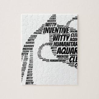アクエリアスの占星術の(占星術の)十二宮図の印の単語の雲 ジグソーパズル