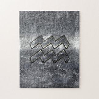 アクエリアスの記号のグランジで動揺してな銀製の鋼鉄 ジグソーパズル