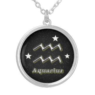 アクエリアスの記号 シルバープレートネックレス