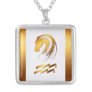 アクエリアスの馬の中国のな西部の占星術の第2モデル シルバープレートネックレス