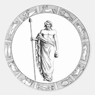 アクエリアスの(占星術の)十二宮図のステッカー ラウンドシール