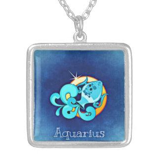 アクエリアスの(占星術の)十二宮図のネックレス シルバープレートネックレス