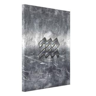 アクエリアスの(占星術の)十二宮図の動揺してな銀製の鋼鉄スタイル キャンバスプリント