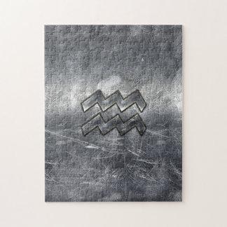 アクエリアスの(占星術の)十二宮図の動揺してな銀製の鋼鉄スタイル ジグソーパズル