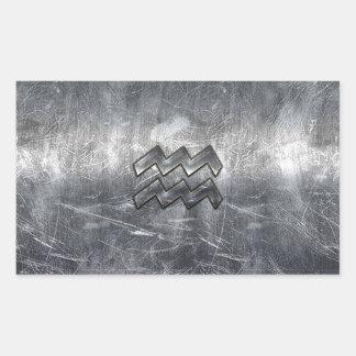 アクエリアスの(占星術の)十二宮図の動揺してな銀製の鋼鉄スタイル 長方形シール