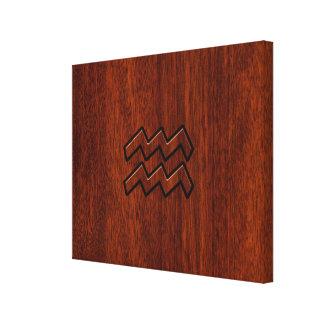 アクエリアスの(占星術の)十二宮図の印のマホガニーのスタイル キャンバスプリント