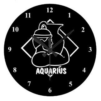 アクエリアスの(占星術の)十二宮図の印の誕生日の占星術の占星術 ラージ壁時計