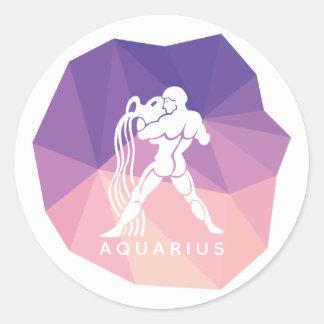 アクエリアスの(占星術の)十二宮図の印3dのステッカー ラウンドシール