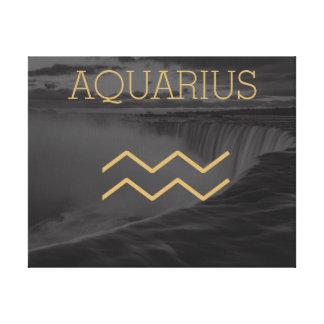 アクエリアスの(占星術の)十二宮図の印|のカスタムな背景 + 文字 キャンバスプリント