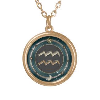 アクエリアスの(占星術の)十二宮図の印 ゴールドプレートネックレス