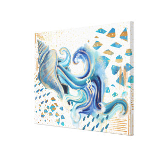アクエリアスの(占星術の)十二宮図の抽象芸術の水彩画の壁の芸術 キャンバスプリント