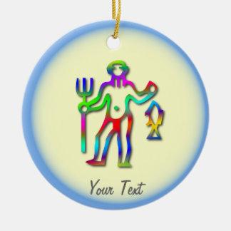 アクエリアスの(占星術の)十二宮図の星の印の虹の誕生日または セラミックオーナメント