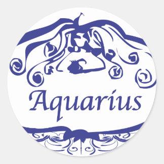 アクエリアスの(占星術の)十二宮図 ラウンドシール